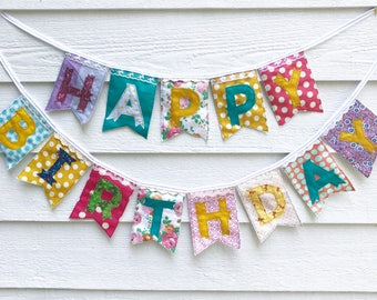 HAPPY BIRTHDAY banner colorful floral eclectic fabric