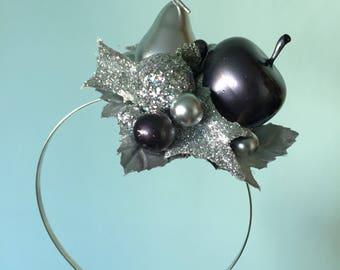 Christmas Headband, Silver Glitter, Christmas Fascinator, Hair Accessory, Novelty Headband, Kitschmas, Glitter Holly, Fruit Fascinator,