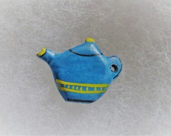 Teapot Jewelry Pin - handcarved and handpainted