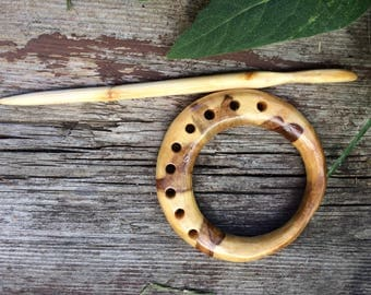 Poplar Wood Shawl Pin // Wooden Scarf Pin