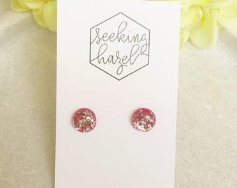 Silver glitter earrings , pink and silver earrings , hypoallergenic earrings , resin studs, glitter studs , hot pink