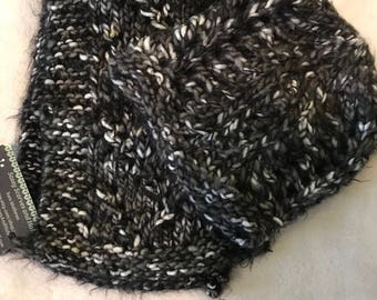 Black grey white scarf and hat