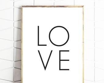 80% OFF love printable art, modern love print, minimalst love art, digital download love, instant love download, love modern art