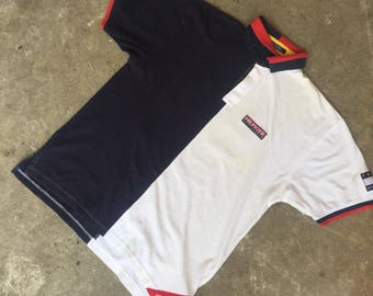 Vintage 90s Tommy hilfiger sailing gear two tone polo shirt Size L