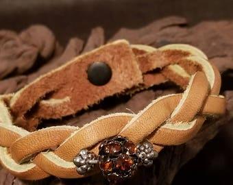 Braided leather & bead bracelet