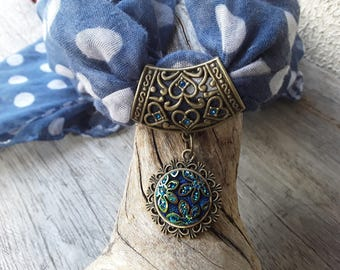 Blue iridescent and bronze scarf jewelry