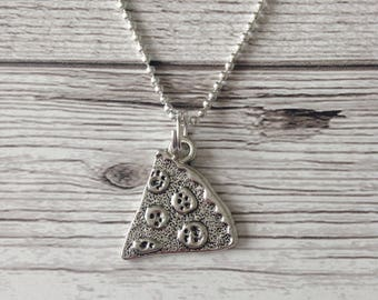Pizza slice necklace, pizza necklace, silver tone necklace, pizza lover, secret santa gift, gift for co worker, gift for friend, pizza gift