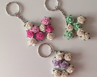 Custom Floral Letter Keyring Keychain - Handbag Charm - Bridesmaid Gift - Birthday Gift - Bride Tribe Gift - Hen Party - Car Keychain