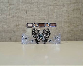 Business Card Holder With Rhinestone Butterfly