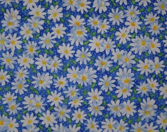 Floral Fabric- Keepsake Calico Daisies on Blue