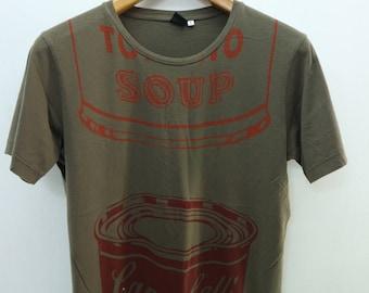 Vintage Andy Warhol Campbell Tomato Soup T-Shirt Pop Art Graffiti Designer Wear Top Tee Size M