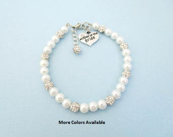Mother of the Bride Pearl & Crystal Charm Bracelet-Mother of the Bride gift-Mother of the Bride jewelry-Bridal jewelry gift-Weddings, B1580