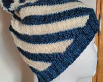 swirl blue ivory hand knitted alpaca wool hat
