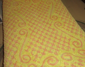 Tangy Citrus Burst! Vintage Chenille Bedspread in Juicy Tangerine and Lemon Zest with a Ruffled Skirt - for Full Size Beds
