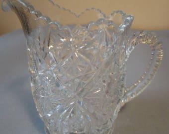 Pitcher, small cut glass/crystal, vintage, Czech Bohemian