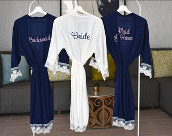 Bridesmaid robes, Bridesmaid gift, cotton lace robe,  bridal party robe,  monogrammed robe, personalized robes, mother of the bride robe