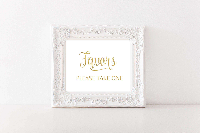 Gold favor table sign, wedding signage, wedding decor, wedding ...