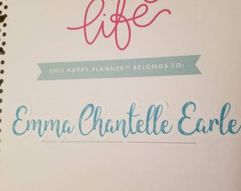 Custom name for title page of the Happy Planner!