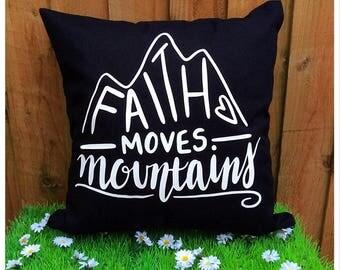Bible Verse Scripture Cushion Cover Faith Moves Mountains