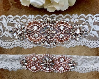 Rose gold wedding garter, Ivory Wedding Garter Set NO SLIP grip vintage rhinestones