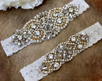 Crystal Gold Ivory Wedding Garter Set NO SLIP grip vintage rhinestones
