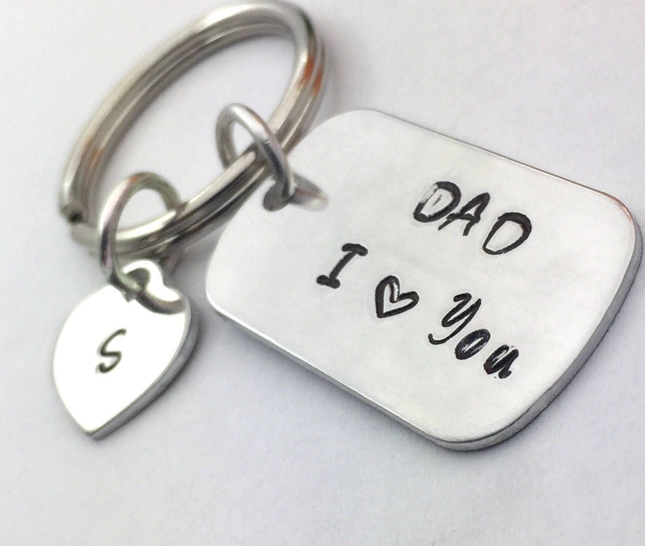 Small Metal Initials Small Dog Tag Key Chain Key Ring Father Child Hand Stamped