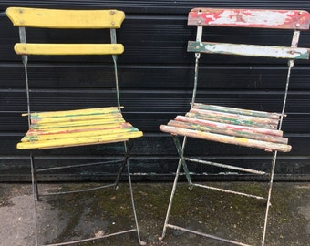 Two lovely old folding chairs