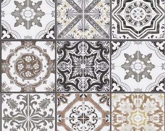 Beige and grey tiles Tile fabric, Lisbon, portugal fabric, 1/2 meter