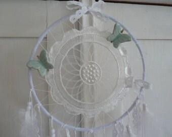 Dream catcher * Dreamcatcher * white Pastel Green Butterfly Springs top Valentine's day mother's day birthday housewarming vintage Edwardian