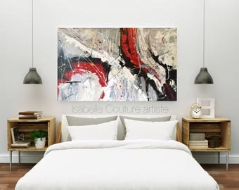 """Large abstract canvas, large Canvas, abstract painting, Contemporary art, IKOUart, red, red, rectangle, horizontal, 30 """"x 48"""" x 1, 5 """""""