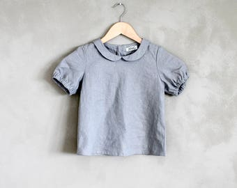grey linen blouse with peter pan collars for girls