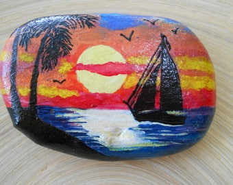 Hand Painted Stones,Home Decor,Painted Rock, Pebble,Acrylic, sunset, exotic. sea, boat