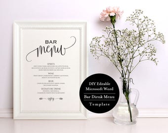 Wedding Drinks Sign, Wedding Bar Menu Sign, Wedding Bar Menu Template, 8x10, Signature Drinks, Instant Download, Calligraphy, MSW74