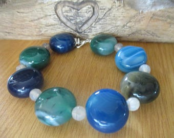 Blue and Green Agate Coin Shaped Bracelet