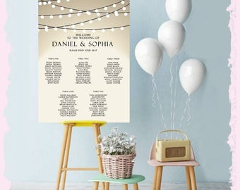 PRINTED Wedding seating chart Sign Customize the names of Bride & Groom Ready To Use Reception ceremony engagement Sign LARGE table plan
