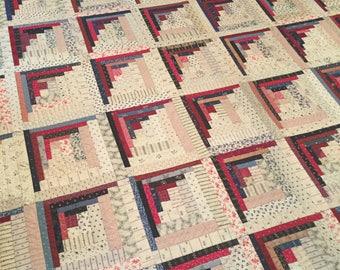 "Antique ""Log Cabin"" Handmade Quilt"