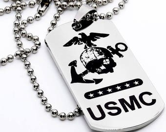 Dog Tag, Military Style Dog Tag, Stainless Steel Dog Tag, Jewelry Dog Tag, Personalized Dog Tag, Military Style Jewelry, USMC