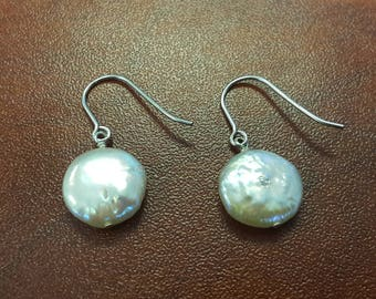 Beautiful and Lustrous Coin Shape Genuine Freshwater Pearl Earrings