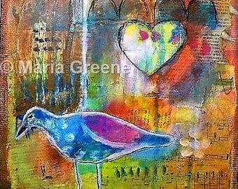 "Original painting, art, mixed media, bird painting, heart, 12x12"" abstract"