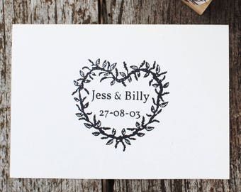 Heart wreath stamp, wedding heart stamp, wreath stamp, personalised wedding favour, custom wedding favour,classic wedding date stamp