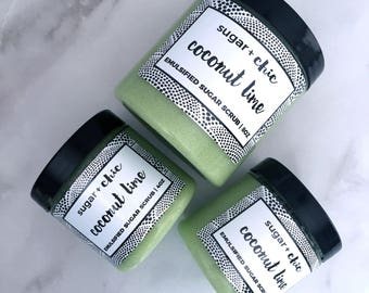 COCONUT LIME Emulsified Sugar Scrub | Exfoliating Scrub. Body Scrub. Sugar Scrub. Coconut Lime Verbena. Natural Skin Care. Gift.