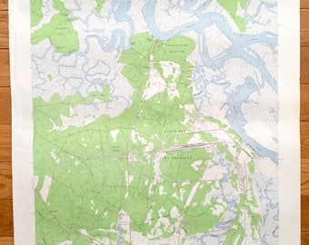 Antique Harriets Bluff Georgia 1958 Us Geological Survey Topographic Map Kings Bay Army Terminal