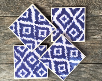 Blue Ikat Pattern Ceramic Coasters