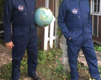 Vintage KEY Coveralls NASA Jumpsuits Costume Halloween Astronaut NASA Space Suit Group Costume Navy Boiler Suit Work-Wear Mechanic Overalls