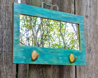 Teal Mirror with Hooks, Entryway Mirror