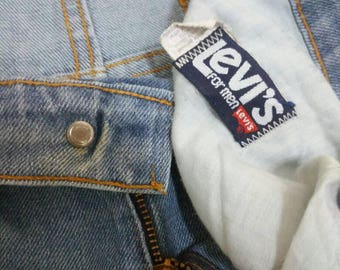 Vintage 70's LEVIS Orange Tab Denim Jeans 33X32 Talon 42 Zipper Tab Button#31 Indigo Blue Denim USA