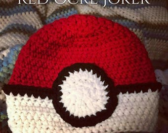 Crochet Hat- Crochet Beanie- Kids Winter Hat- Pokeball Hat- Pokemon- Knit Hat- Kids Knit Hat- Kids Hat- Pokemon Go- Pokeball- Toddler Hat