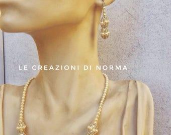 Handmade pearl and swarovski necklace