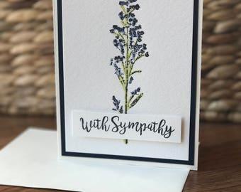 Sympathy Flower Card - navy blue