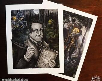 2 prints - Washington Irving, Headless Horseman (8 x 10 Giclée Prints), The Legend of Sleepy Hollow, Halloween Art Print, Author, Book Lover